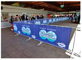 mesh banner on walkway